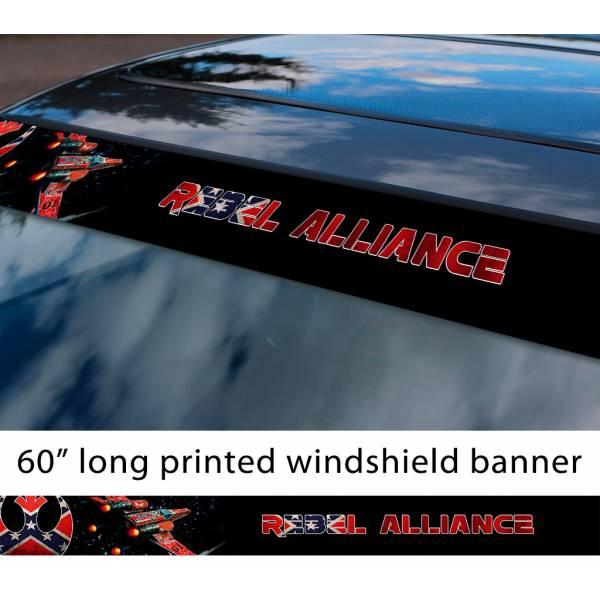 "60"" Rebel Alliance General Lee USA X-Wing Fighter Darth Galactic Empire Sun Strip Printed Car Vinyl Sticker Decal>"