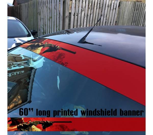 """60"""" Red Dead Redemption v2 Wild West Western Guns Cowboy Sun Strip Printed Windshield Car Vinyl Sticker Decal"""