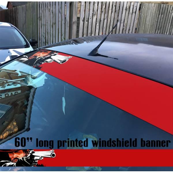 """60"""" Red Dead Redemption v1 Wild West Western Guns Cowboy Sun Strip Printed Windshield Car Vinyl Sticker Decal"""