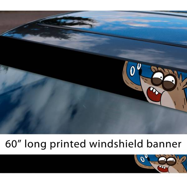 "60"" Cartoon Regular Show v2 Mordecai Rigby Sun Strip Printed Windshield Car Vinyl Sticker Decal"