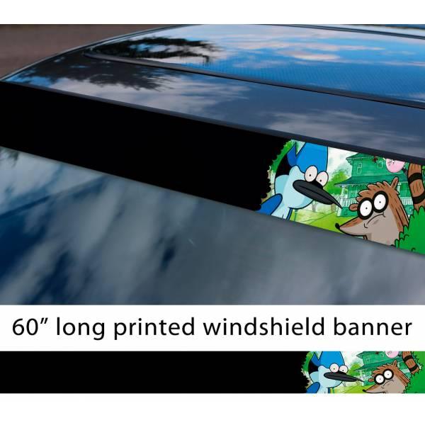 "60"" Cartoon Regular Show v3 Mordecai Rigby Sun Strip Printed Windshield Car Vinyl Sticker Decal>"