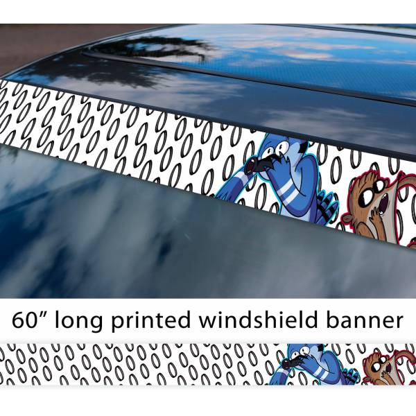 "60"" Cartoon Regular Show v4 Mordecai Rigby Sun Strip Printed Windshield Car Vinyl Sticker Decal>"