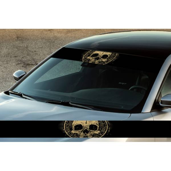 "60"" Skull Bones Dead Printed Windshield Banner Wrap Vinyl Sticker Car Truck>"