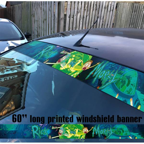 "60"" Cartoon Rick and Morty v4 Sun Strip Printed Windshield Car Vinyl Sticker Decal"