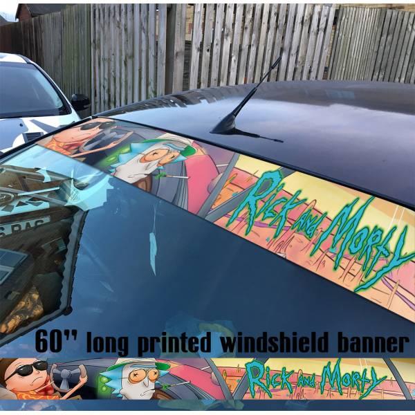 "60"" Cartoon Rick and Morty v5 Sun Strip Printed Windshield Car Vinyl Sticker Decal"