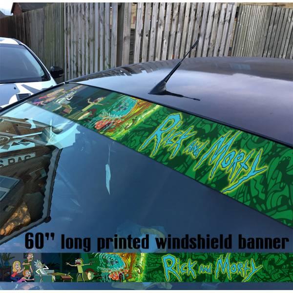 "60"" Cartoon Rick and Morty v6 Sun Strip Printed Windshield Car Vinyl Sticker Decal"