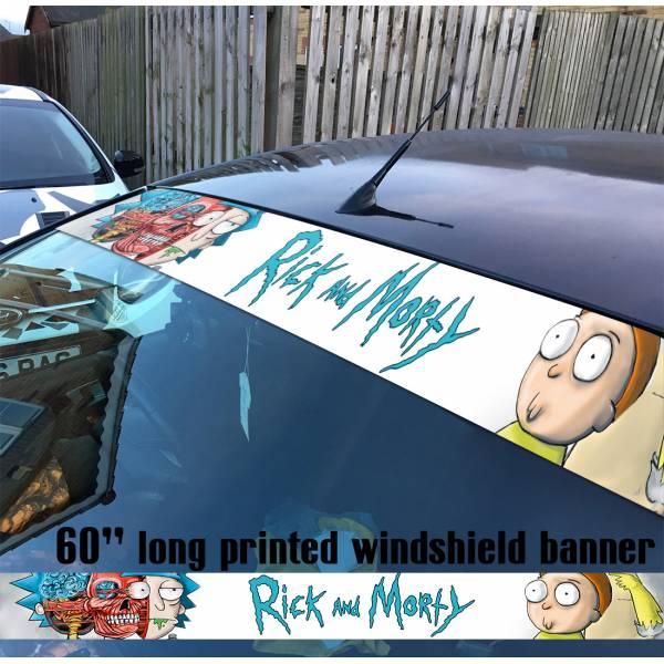 "60"" Cartoon Rick and Morty v7 Sun Strip Printed Windshield Car Vinyl Sticker Decal"