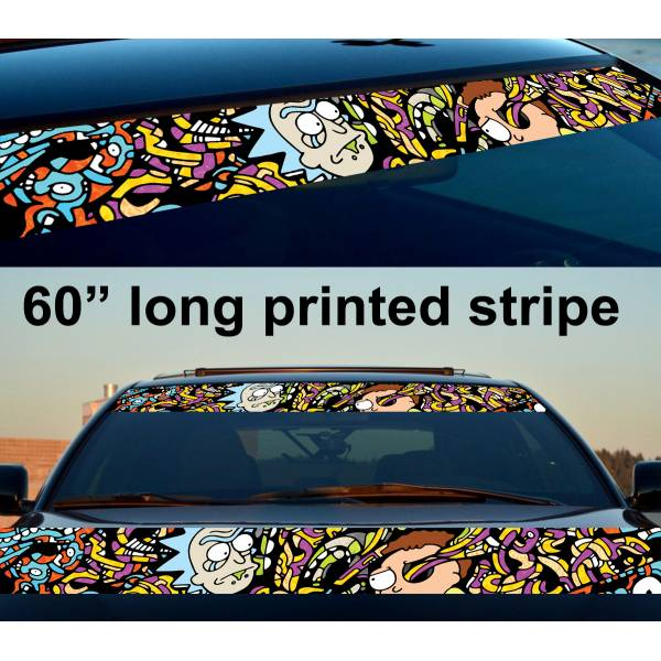 "60"" Cartoon Rick and Morty Sun Strip Printed Windshield Car Vinyl Sticker Decal"