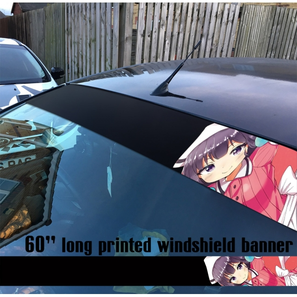"60"" Blend S Maika Sakuranomiya V1 Sadistic Kawaii Girl Manga Anime Sun Strip Printed Windshield Car Vinyl Sticker Decal>"