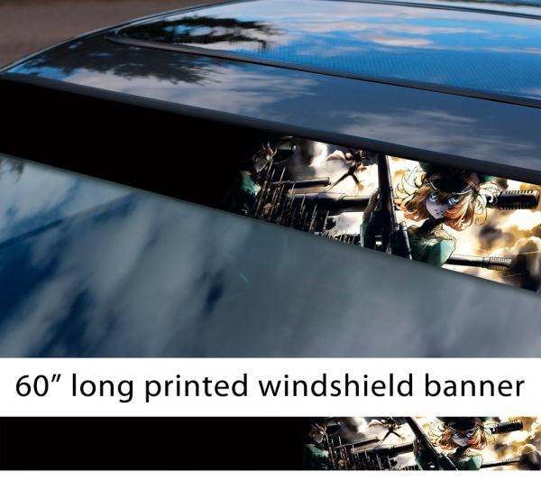 "60"" Saga of Tanya v2 Major Degurechaff Evil Being X World War I II Anime Manga Car Printed Windshield Sticker"