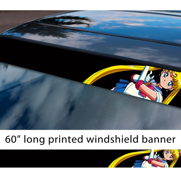 "60"" Sailor Moon Pretty Guardian Cat Silver Crystal Tuxedo Mask v1 Anime Manga Sun Strip Printed Windshield Car Vinyl Sticker Decal>"