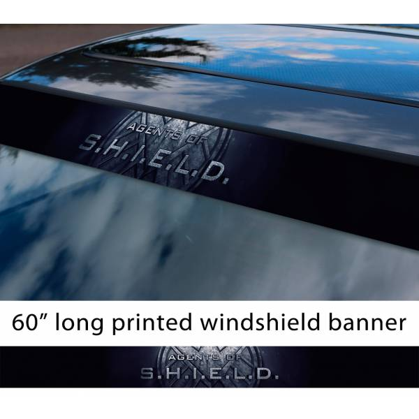 "60"" Agents Of Shield Logo S.H.I.E.L.D. Hail Hydra Logo Eagle Comics Avengers Sun Strip Printed Windshield Car Vinyl Sticker Decal"