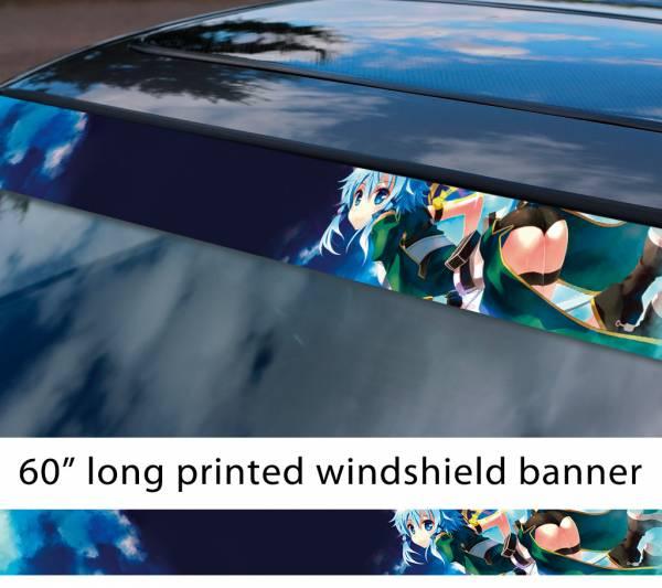 "60"" Sword Art Online Sinon v6 Asada Shino Gun Gale ALfheim Game Sexy Hot Anime Manga Sun Strip Printed Windshield Vinyl Sticker"