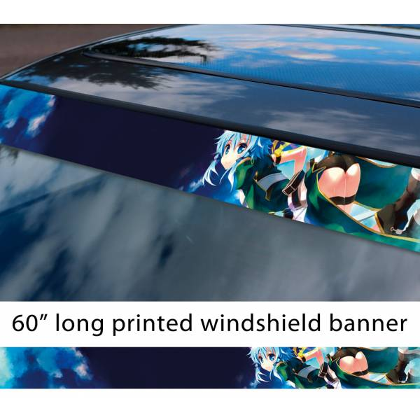 "60"" Sword Art Online Sinon v6 Asada Shino Gun Gale ALfheim Game Sexy Hot Anime Manga Sun Strip Printed Windshield Vinyl Sticker>"