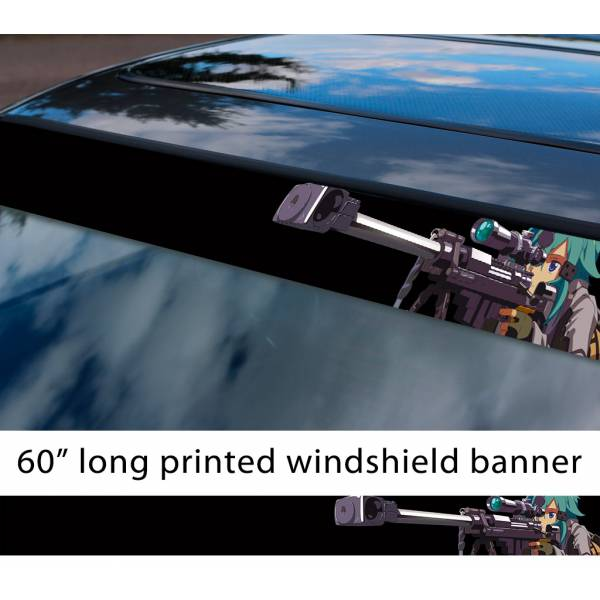 "60"" Sword Art Online Sinon v5 Asada Shino Sniper Rifle Hecate 2 Gun Gale ALfheim Game Sexy Hot Anime Manga Sun Strip Printed Windshield Vinyl Sticker>"