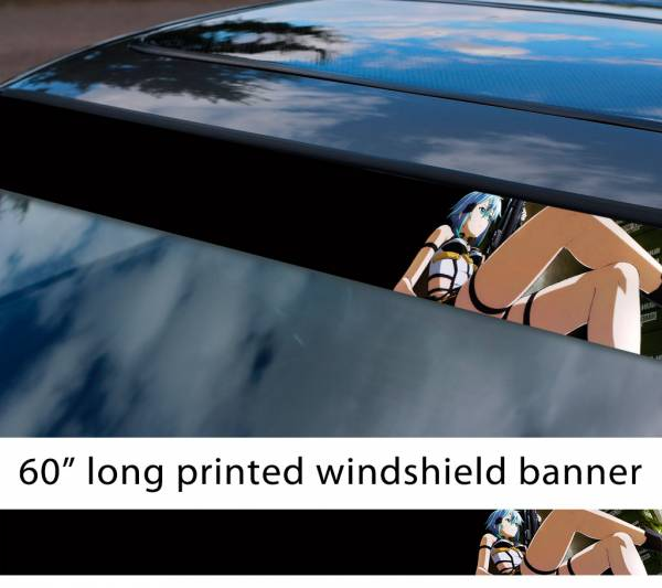 "60"" Sword Art Online Sinon v2 Asada Shino Gun Gale ALfheim Game Sexy Hot Anime Manga Sun Strip Printed Windshield Vinyl Sticker"