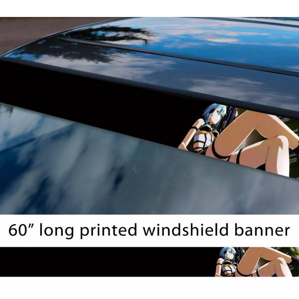 "60"" Sword Art Online Sinon v2 Asada Shino Gun Gale ALfheim Game Sexy Hot Anime Manga Sun Strip Printed Windshield Vinyl Sticker>"