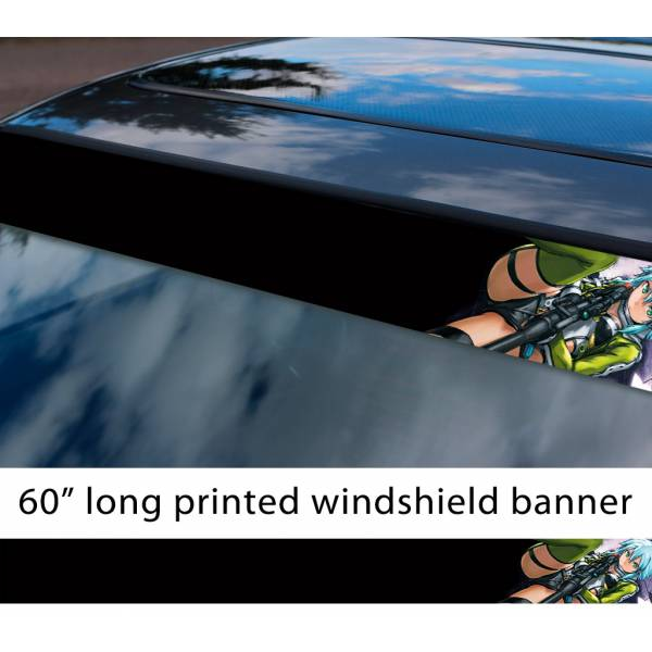 "60"" Sword Art Online Sinon v3 Asada Shino Gun Gale ALfheim Game Sexy Hot Anime Manga Sun Strip Printed Windshield Vinyl Sticker"
