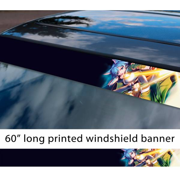 "60"" Sword Art Online Sinon v4 Asada Shino Gun Gale ALfheim Game Sexy Hot Anime Manga Sun Strip Printed Windshield Vinyl Sticker"
