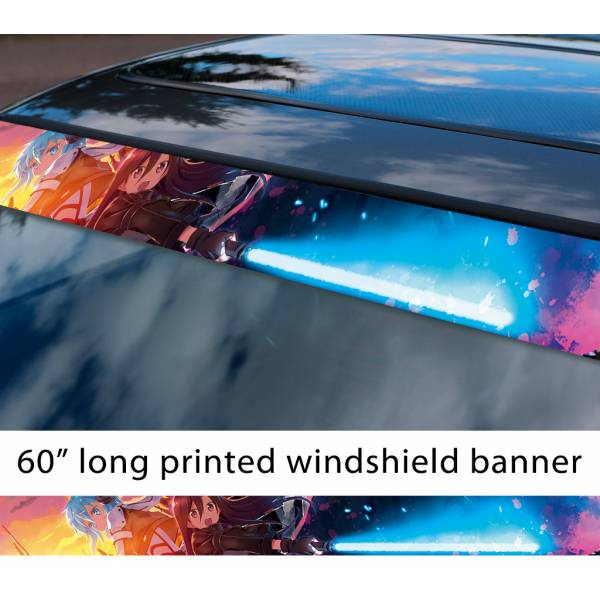 "60"" Sword Art Online Sinon Asada Shino Kirigaya Kazuto Game Anime Manga Sun Strip Printed Windshield Vinyl Sticker"