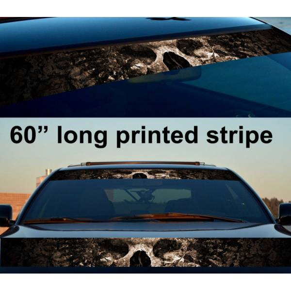 "60"" Skull Bones Dead Hell Sun Strip Printed Windshield Car Vinyl Sticker Decal>"