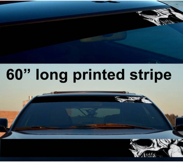 "60"" Skull Drawn Scary Dead Sun Strip Printed Windshield Car Vinyl Sticker Decal"