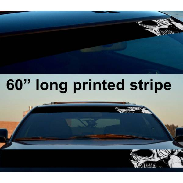 "60"" Skull Drawn Scary Dead Sun Strip Printed Windshield Car Vinyl Sticker Decal"