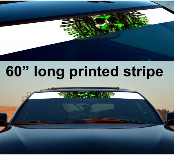 "60"" Skull Guns Metal Expendables Army Sun Strip Printed Windshield Car Vinyl Sticker Decal"