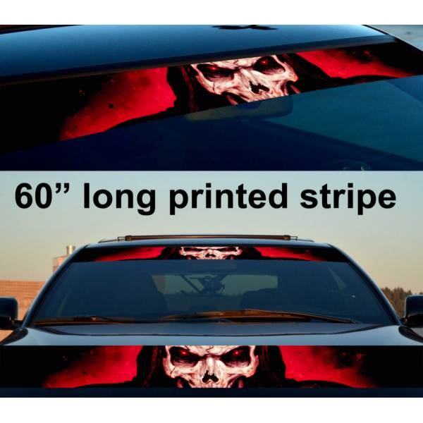 "60"" Skull Hell Dark Death Sun Strip Printed Windshield Car Vinyl Sticker Decal"