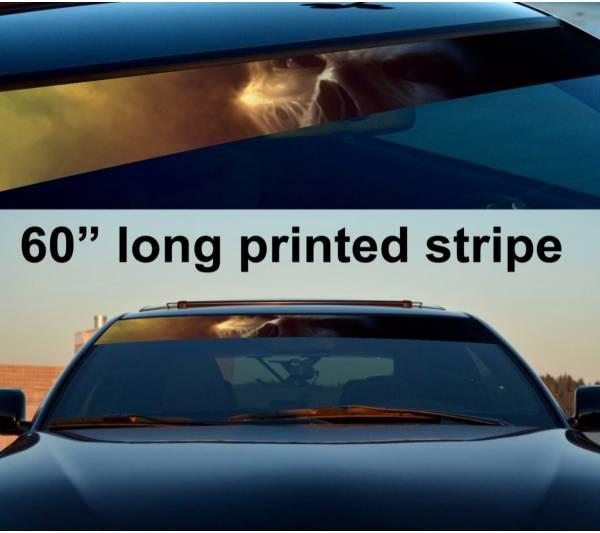 """60"""" Skull Zombie Dark Death Sun Strip Printed Windshield Car Vinyl Sticker Decal"""
