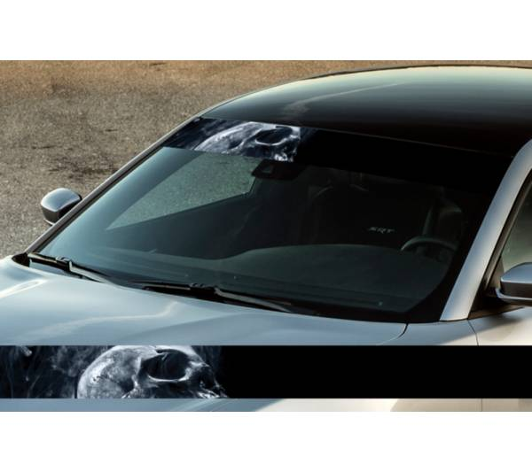 "60"" Skull Smoke Scary Dead Printed Windshield Banner Wrap Vinyl Sticker Car Truck"
