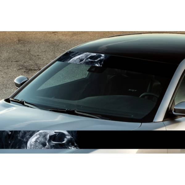 "60"" Skull Smoke Scary Dead Printed Windshield Banner Wrap Vinyl Sticker Car Truck>"
