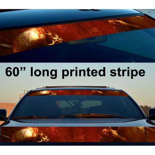 "60"" Skulls Blood Dead Blade Sun Strip Printed Windshield Car Vinyl Sticker Decal"