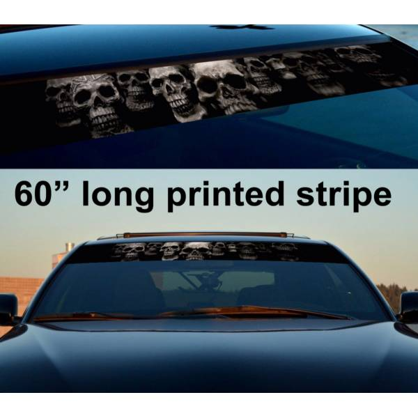 "60"" Skull Sun Strip Printed Windshield Graphics Car Truck Vinyl Sticker Decal"