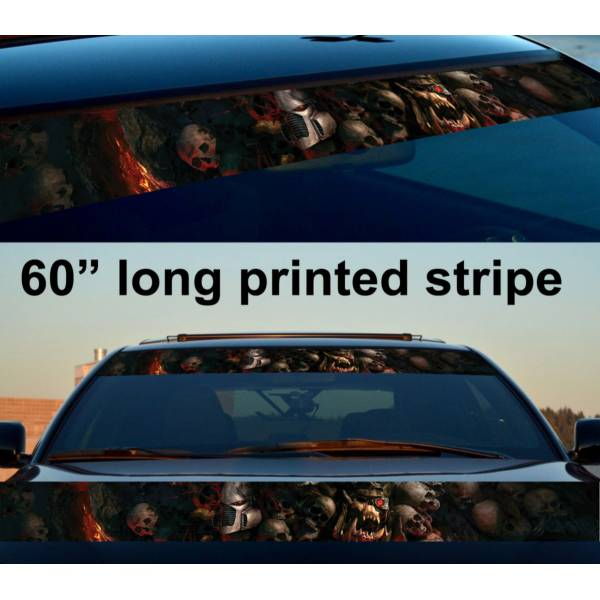 "60"" Dawn of War III v2 Game Skulls Flame Dead Sun Strip Printed Windshield Car Vinyl Sticker Decal>"