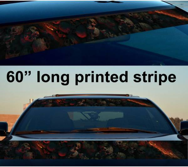"60"" Skulls Flame Dead Dark Sun Strip Printed Windshield Car Vinyl Sticker Decal"