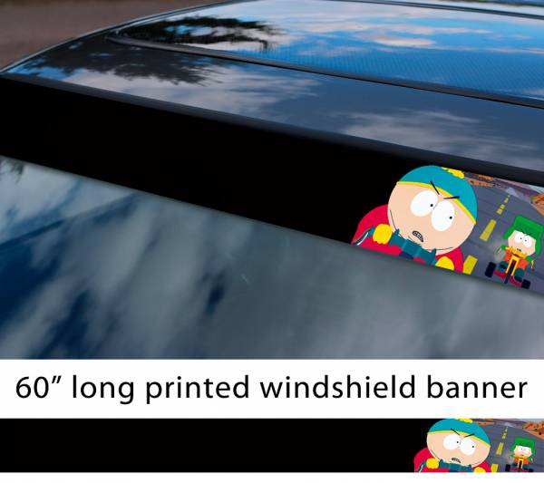 "60"" South Park Eric Cartman vs Kyle Broflovski Racing Bike Chase TV Show Sun Strip Printed Windshield Car Vinyl Sticker Decal"