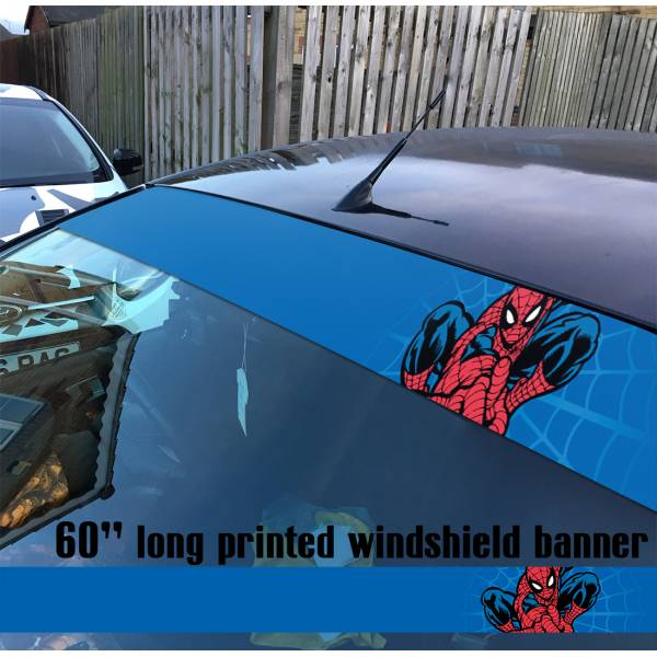 "60"" Spider-Man Superhero Peter Parker Marvel Comics V3 Sun Strip Printed Windshield Car Vinyl Sticker Decal"