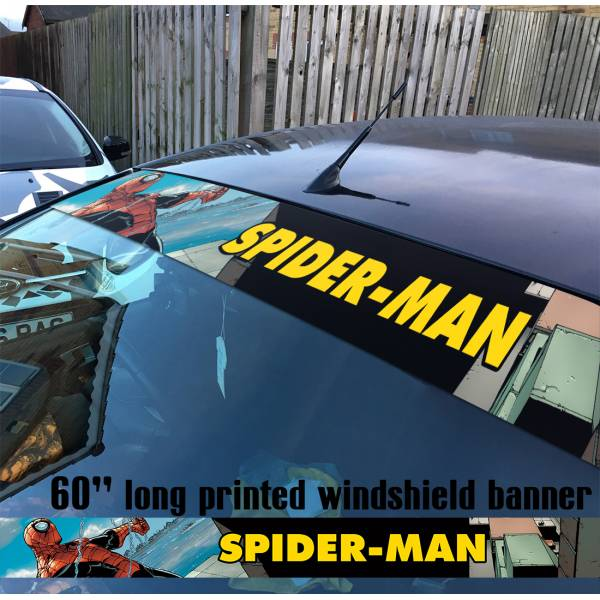 "60"" Spider-Man Superhero Peter Parker Marvel Comics V6 Sun Strip Printed Windshield Car Vinyl Sticker Decal"