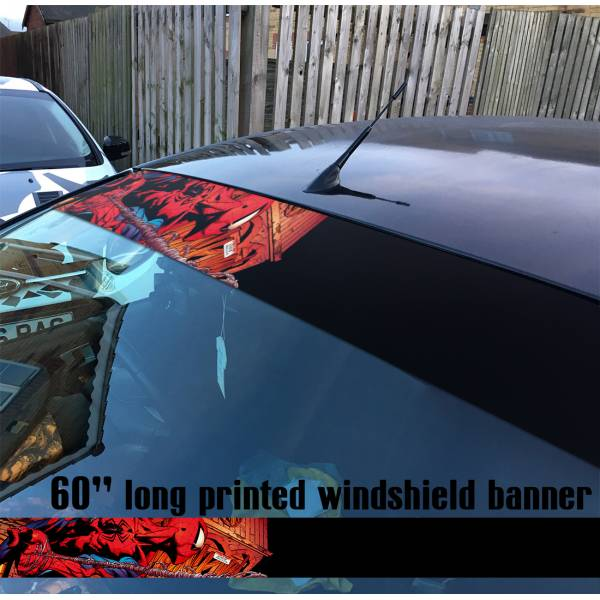 "60"" Peter Parker Superhero Web Comic V8 Sun Strip Printed Windshield Car Vinyl Sticker Decal>"