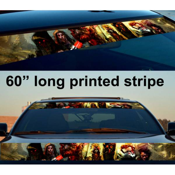 "60"" Zombie Jedi Sun Strip Printed Windshield Car Vinyl Sticker Decal>"