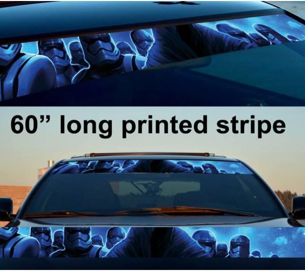 """60"""" Star Wars Dark Storm Force Sun Strip Printed Windshield Vinyl Sticker Decal"""