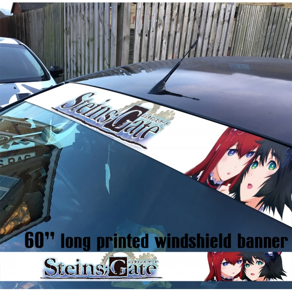 "60"" Steins Gate シュタインズ ゲート Mayuri Shiina Kurisu Makise Sexy Girl Hot Anime Manga Sun Strip Printed Windshield Car Vinyl Sticker Decal"