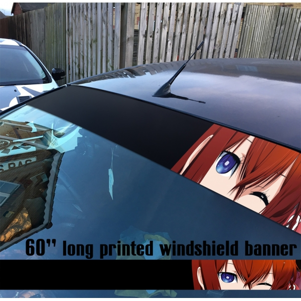 "60"" Steins Gate シュタインズ ゲート Kurisu Makise V3 Rintaro Okabe Sexy Girl Hot Anime Manga Sun Strip Printed Windshield Car Vinyl Sticker Decal"
