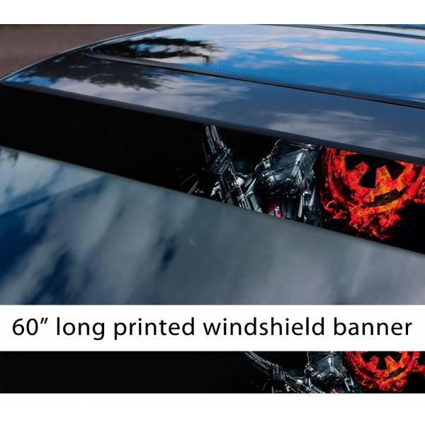 "60"" Stormtrooper Galactic Empire Flame Darth Dark Force First Order Sun Strip Printed Car Vinyl Sticker Decal>"