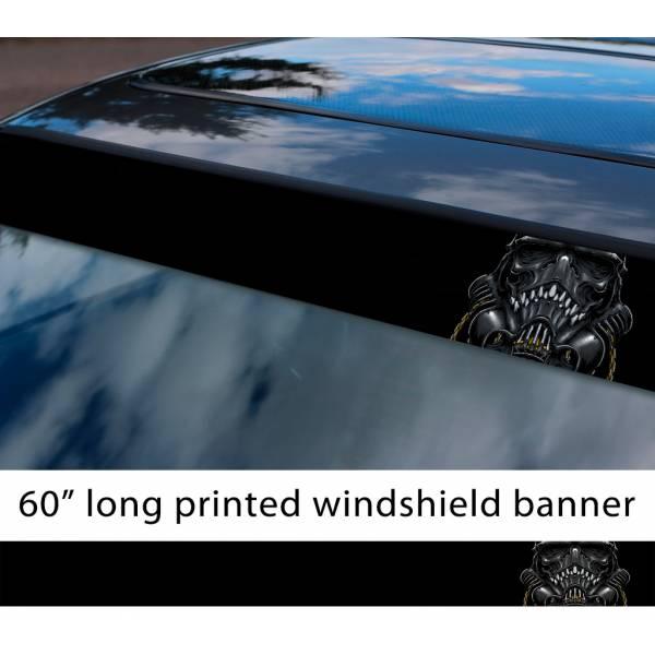 "60"" Stormtrooper Skull Darth Galactic Empire First Order Sun Strip Printed Car Vinyl Sticker Decal>"