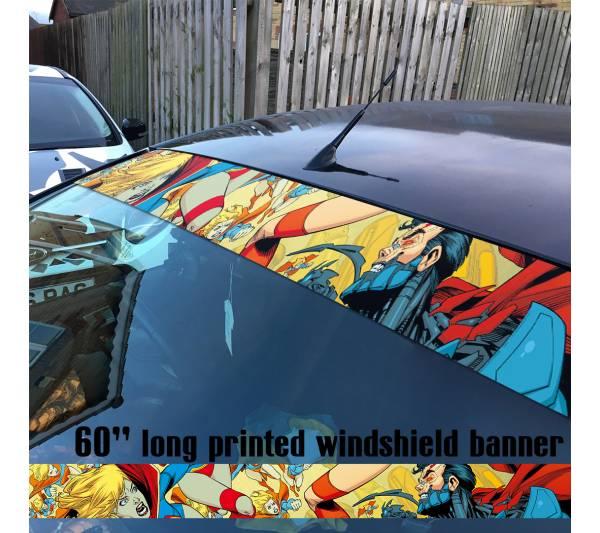 "60"" Supergirl Superman Girl DC Comics Logo Sun Strip Printed Windshield Car Vinyl Sticker Decal"