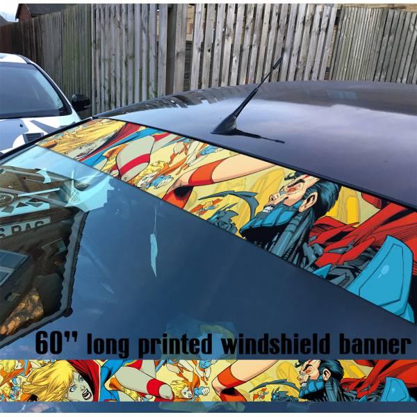 "60"" Supergirl Clark Kent Girl  Comics  Sun Strip Printed Windshield Car Vinyl Sticker Decal#Superman"