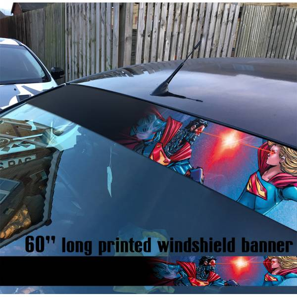 "60"" Supergirl v2 Superman Girl DC Comics Logo Sun Strip Printed Windshield Car Vinyl Sticker Decal"