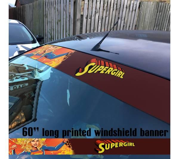 "60"" Supergirl v3 Superman Girl DC Comics Logo Sun Strip Printed Windshield Car Vinyl Sticker Decal"
